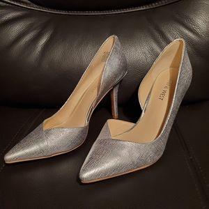 Silver heels size 7 nine west